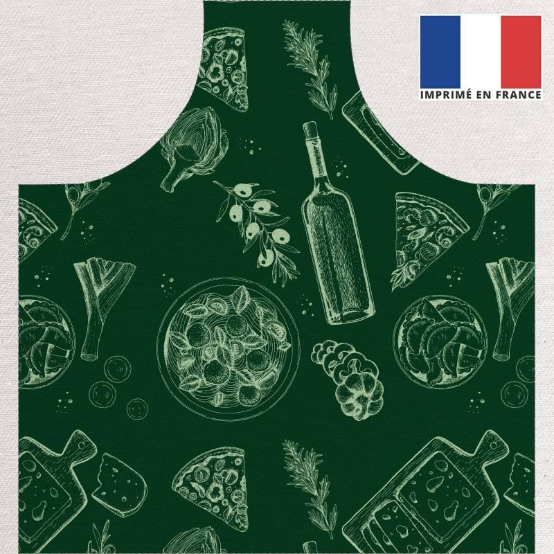 Patron imprimé sur canvas pour tablier vert motif italian food