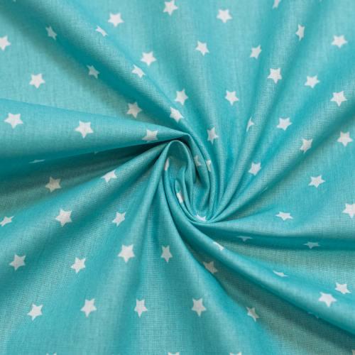 Coton cretonne bleu turquoise étoiles blanches