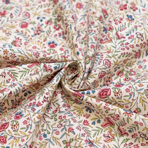 Coton ivoire motif beaucaire indienne rose