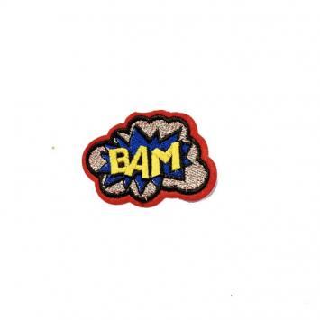 """Écusson argent brodé """"BAM"""" jaune et bleu"""