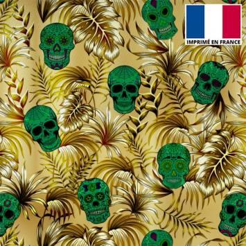 Tissu burlington or imprimé jungle tête de mort verte