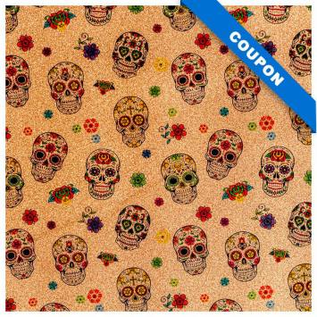 Coupon 50x68 cm - Simili cuir or à paillettes motif calavera