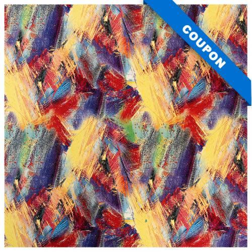 Coupon 50x68 cm - Simili cuir imprimé multicolore effet peinture