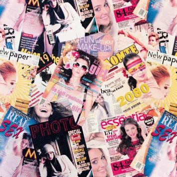 Simili cuir jaune imprimé magazine 2080 rose
