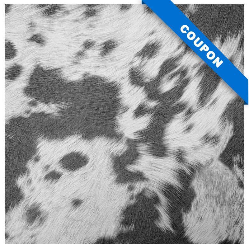 Coupon 50X68cm - Simili imitation peau de vache grise