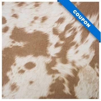 Coupon 50X68cm - Simili imitation peau de vache marron
