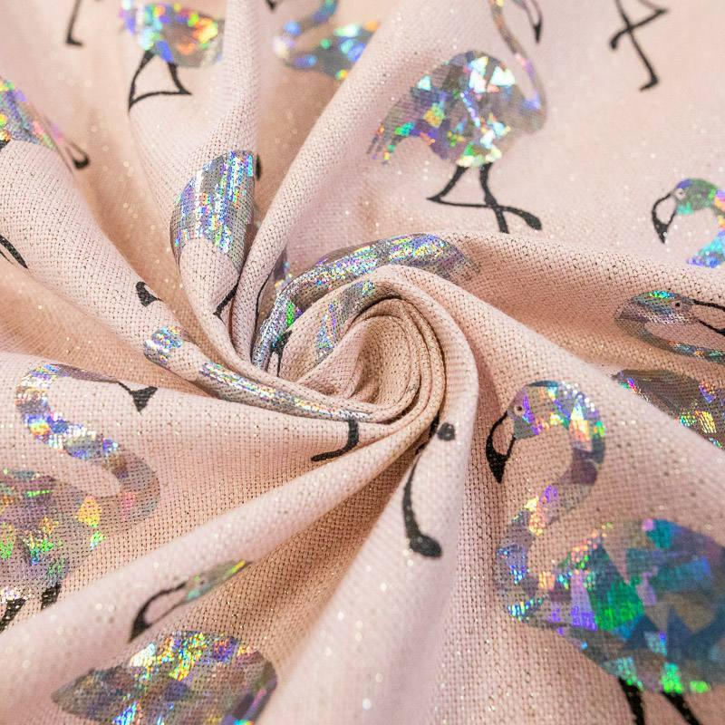 Coupon 50x68 cm - Toile polycoton hologramme rose pastel flamant-rose argent