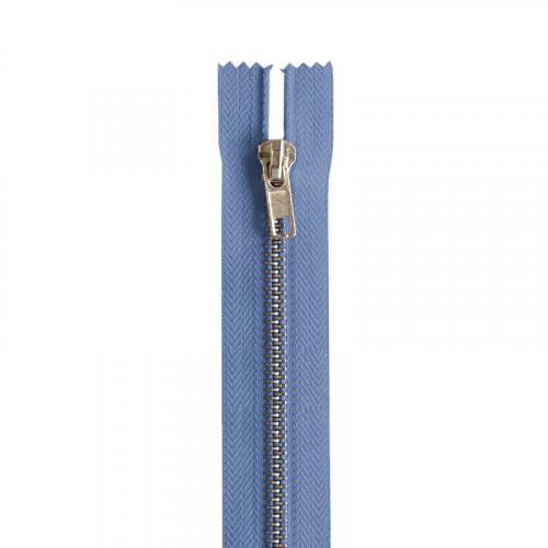 Fermeture bleu jean en métal argent 22 cm col 145