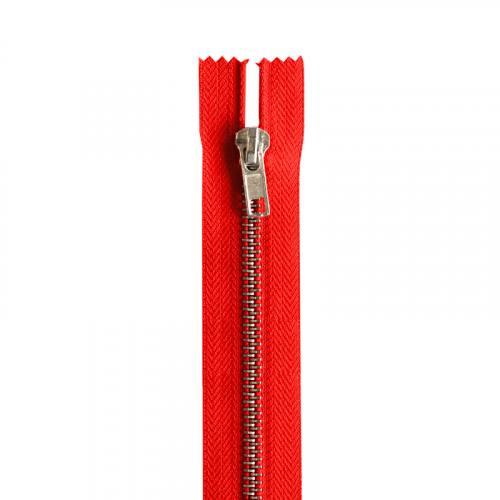 Fermeture rouge en métal argent 12 cm col 820