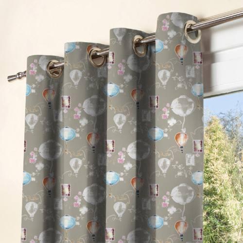 Tissu occultant gris motif lanternes colorées