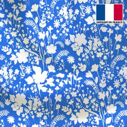 Tissu microfibre bleu motif fleurs des champs blanches