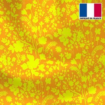 Tissu microfibre orange motif fleurs des champs jaunes