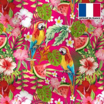 Tissu microfibre fushia motif perroquet exotique rouge