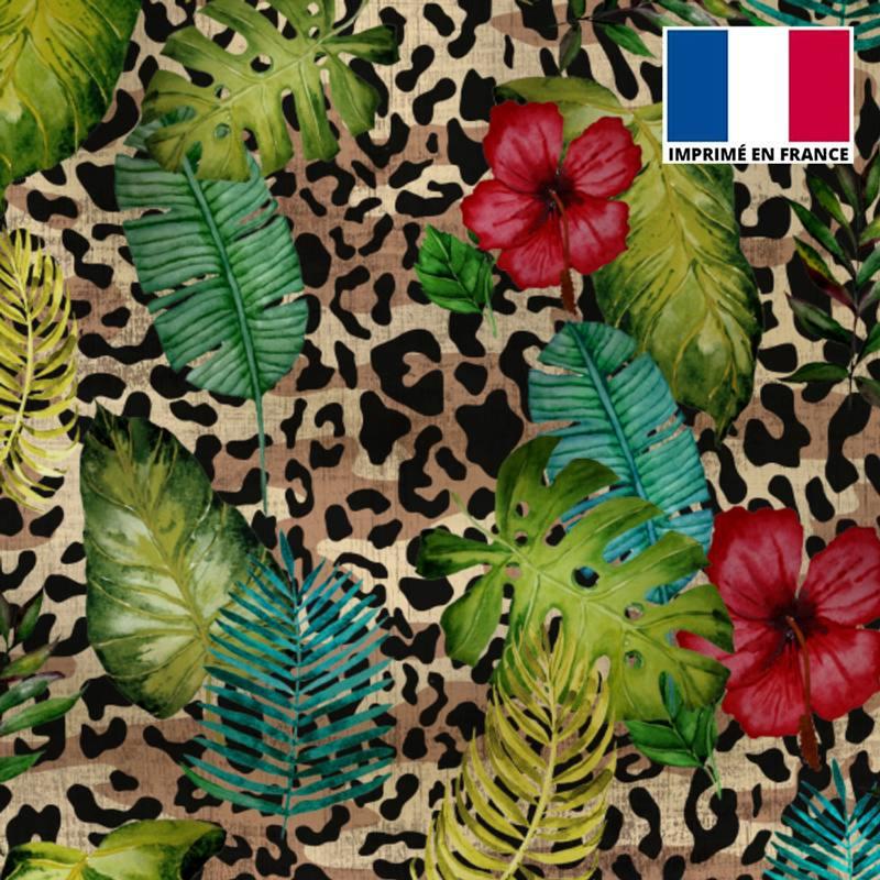 Maille scuba beige imprimé jungle léopard