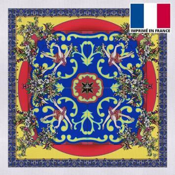 Coupon 45x45 cm toile canvas jaune imprimé bouquet bleu roi - Création Mathilde Lordet