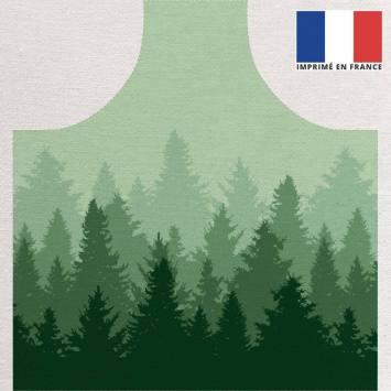 Kit canvas pour tablier motif forêt nuance de vert