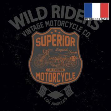 Coupon 45x45 cm toile canvas noire motif vintage riders orange