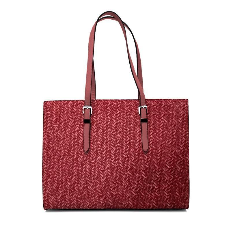 Coupon 50x68 cm - Simili cuir imitation tressage rouge framboise
