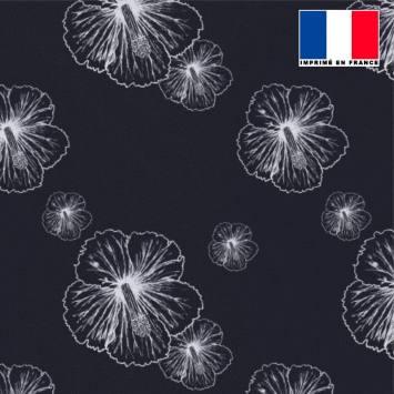 Tissu microfibre noir imprimé fleur d'hibiscus