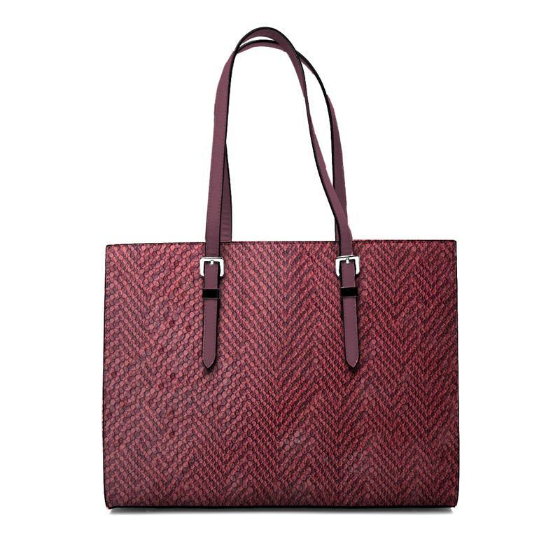 Coupon 50x68 - Simili cuir bicolore à relief écailles rose et bordeaux