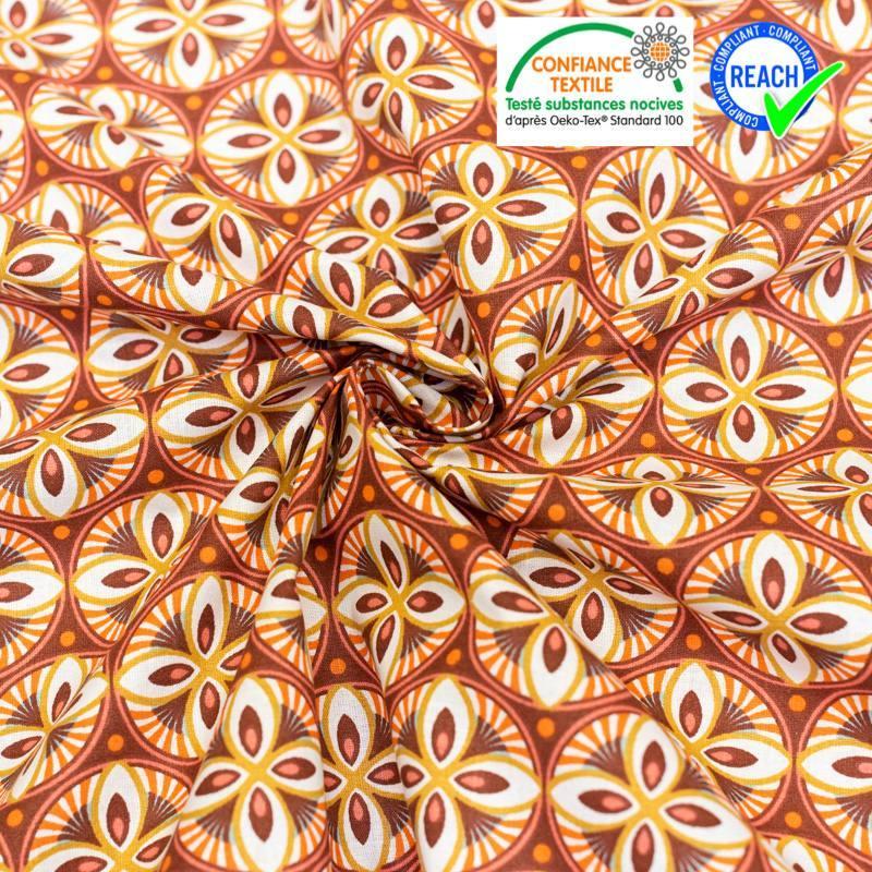 Coton bordeaux motif livy orange