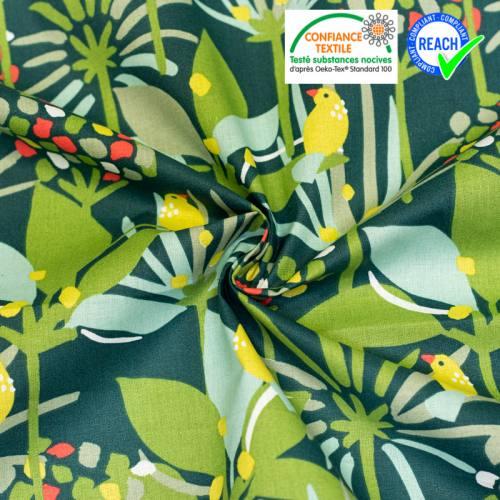 Coton vert foncé motif petit oiseau jaune edbird