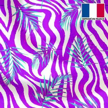Lycra blanc motif zébrure et feuille turquoise et violette