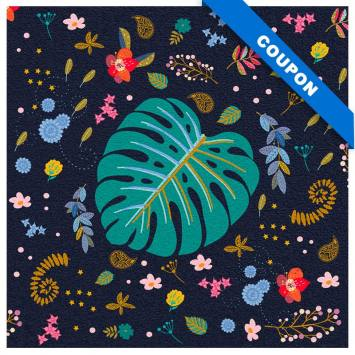 Coupon velours ras bleu de minuit motif feuilles bleues et bleu-vert