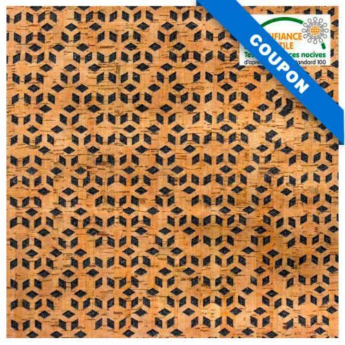 Coupon 67x50cm - Tissu noir et liège motif losange