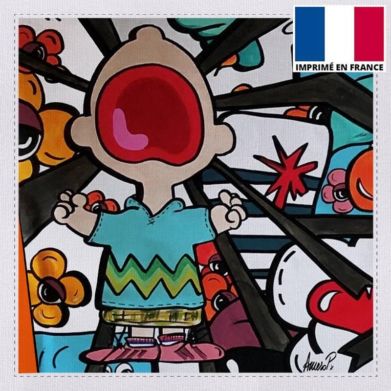 Coupon toile canvas scout énervé street pop - Création Anne-Sophie Dozoul