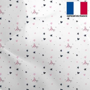 Mousseline crêpe écrue motif ballerine étoile