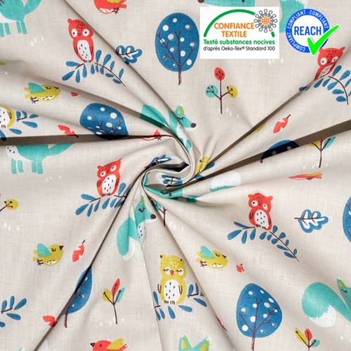 Coton lin motif renard choubois