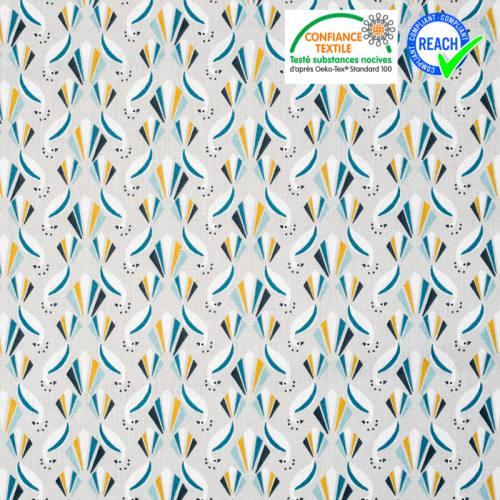 Coton gris motif paon bleu et ocre