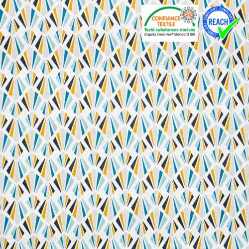 Coton blanc motif payani gris et bleu paon