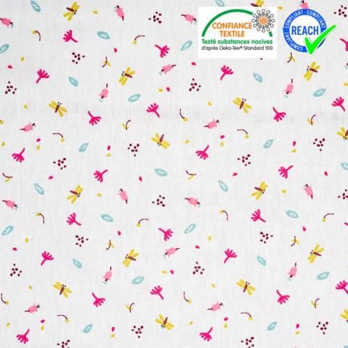 Coton blanc motif fleur et libellule fuchsia jeiade