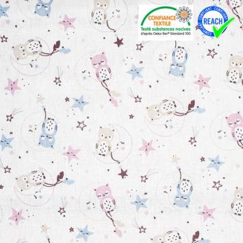 Coton blanc motif lune étoile et chouette lunazel