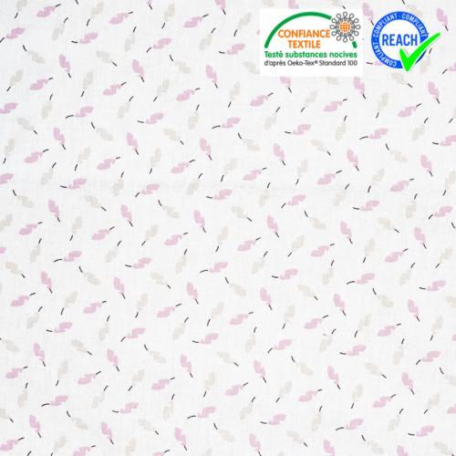 Coton blanc motif plume rose et lin zeoli