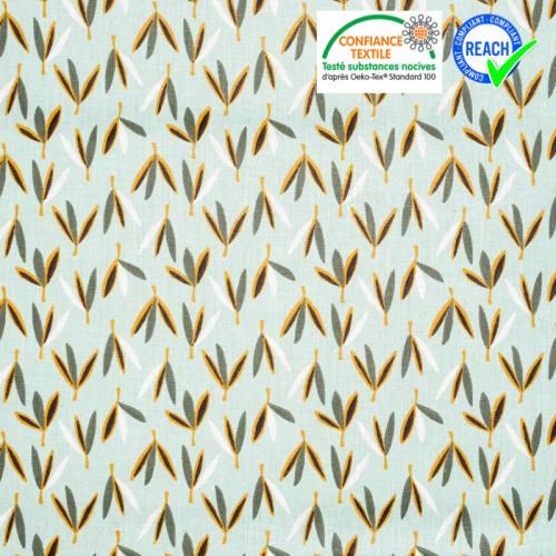 Coton vert d'eau motif plante joden