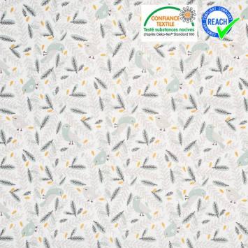 Coton blanc motif oiseau gris nirona et feuillage vert d'eau