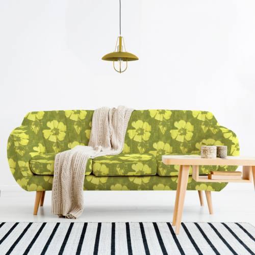 Velours ras vert motif fleur de tiaré jaune - Création Marie-Eva
