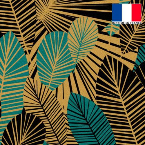 Velours gold motif feuilles art déco noires et bleu canard