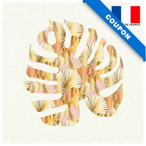 Coupon velours ras imprimé monstera art déco rose gold