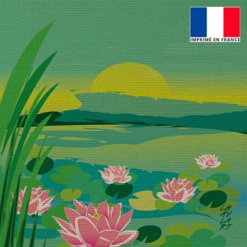 Coupon 45x45 cm motif Bassin aux Nénuphars - Création Chaylart