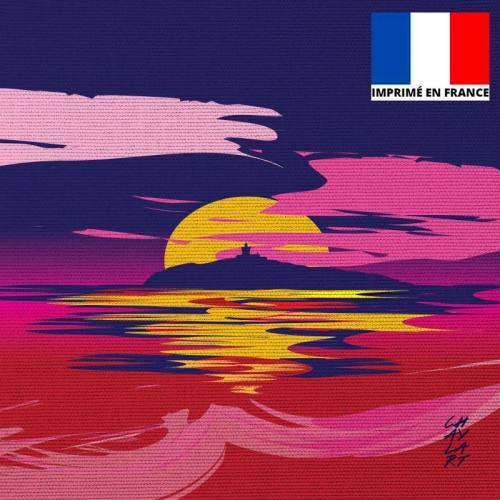 Coupon 45x45 cm motif L'île du Rouveau Soir - Création Chaylart