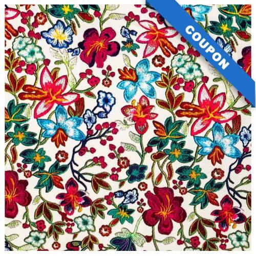 Coupon 50x68cm - Simili cuir écru motif fleurs des champs multicolores