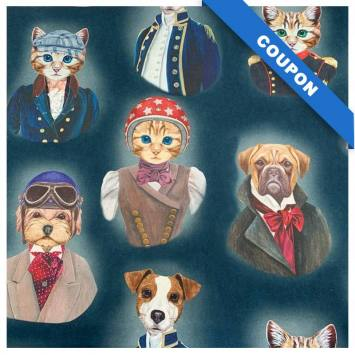 Coupon 50x68 cm - Toile coton bleu nuit imprimée chien et chat