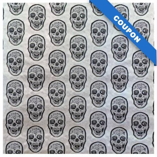 Coupon 50x68cm - Simili cuir argenté tête de mort