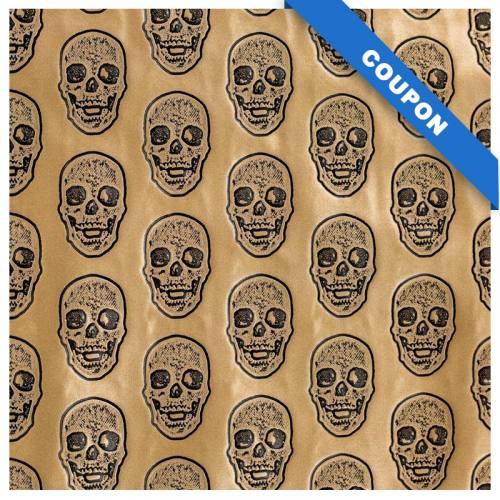 Coupon 50x68cm - Simili cuir doré métallisé tête de mort relief