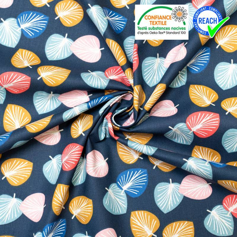 Coton bleu marine motif feuille d'eucalyptus cories
