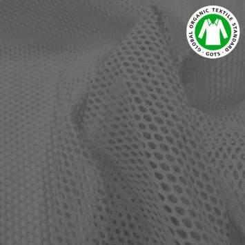 Tissu filet mesh gris foncé en coton bio